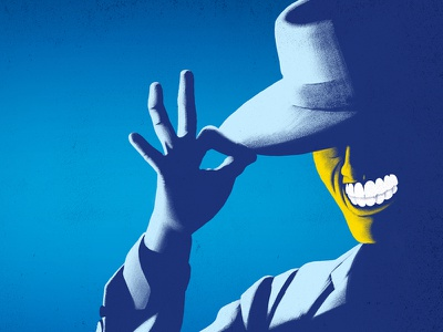 """""""Somebody stop me!""""  teeth smile suit mask face hand hat character the mask texture digital painting illustration"""