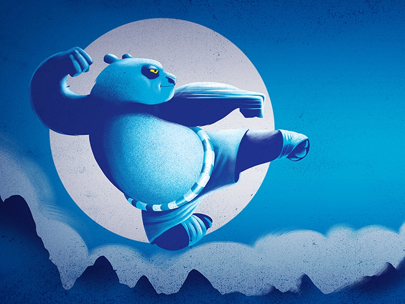 Kung Fu Panda jump mountain clouds sky creature kung fu moon character panda texture digital painting illustration