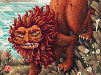 Folklore legend myth teeth lion creature flowers sea character monster texture digital painting illustration