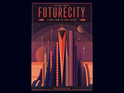 F U T U R E C I T Y vintage texture space sci-fi retro planet illustration fantasy covers book future city