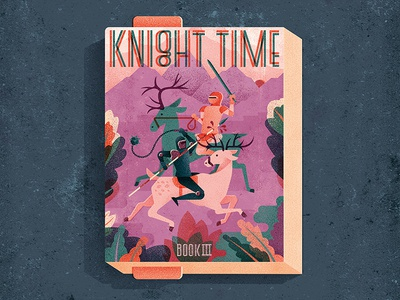 Knight Time  texture leaves foliage riding war battle sword stag knight book