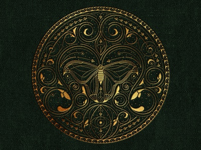 Drawn to the Flame  circle wings moth decoration pattern lines texture emboss book emblem logo