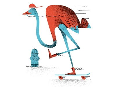 Ostrich rollin' character logo retro texture vintage fun vector cool street skateboard skate illustration