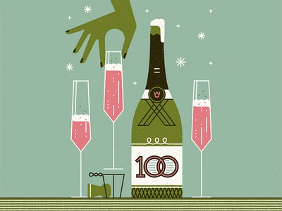 Celebrations! celebrate stars hand bottle glass bubbles champagne flat design vector illustration