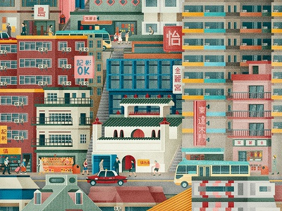 Central Hong Kong bus city scene signage temple city street buildings architecture texture vector illustration