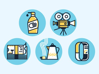 World Travellers  camera film ticket cash steam fitbit tea lotion vector icons
