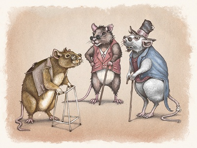 Three Blind Mice glasses fairytale children creature tail storybook character mice texture digital painting illustration