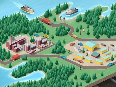 Getting Technical! character boat car tree factory ocean map isometric vector texture digital painting illustration