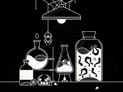 Hocus Pocus  teeth magic potion light laboratory frog spider texture graphic vector halloween illustration