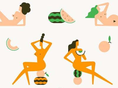 Melons nude body sexy fruit hair vintage vector retro poster illustration character boobs