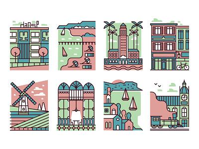 Vanity Fair  houses palm boat beach windmill train restaurant scene destinations map locations