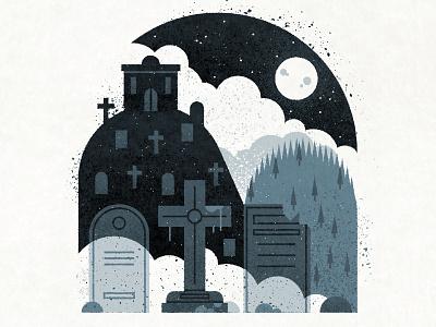 Grave encounter.  mist stars sky night cross graveyard grave moon texture drawing illustration