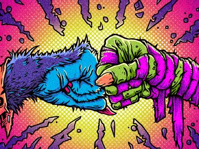 Monster Mash! hand werewolf explosion creature skateboard fistbump character monster texture mummy illustration
