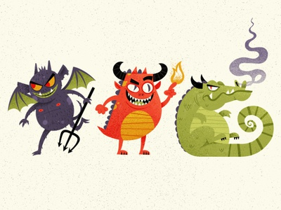 Little Monsters  halowen smoke flames wings beast bat dragon creatures monsters