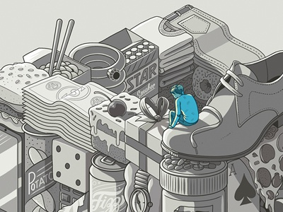 Battling addictions money food isometric perspective logo illusion character object graphic drawing editorial illustration