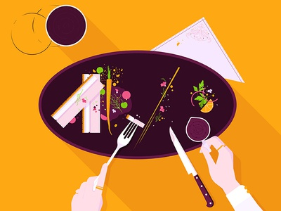 Dinner is served! gourmet crockery sauce main course cutlery plate food flat design vector illustration