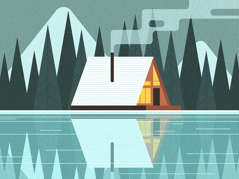 Snowy Cabin tranquil snow house editorial vector reflection landscape travel vintage retro midcentury illustration