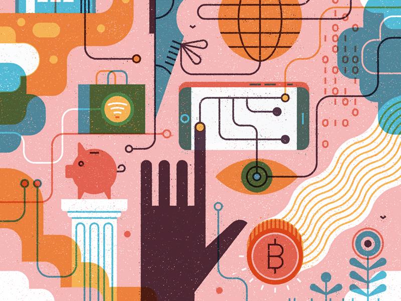 Bitcoins digital print tech editorial texture vector flat bitcoin vintage retro hand illustration