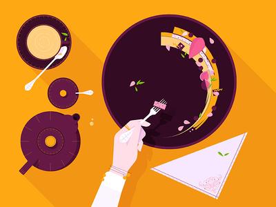 Sweet Treats! gourmet crockery tea dessert cutlery plate food flat design vector illustration