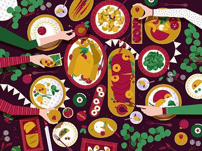 Festive Feast! turkey plates feast christmas table vector graphic food flat illustration