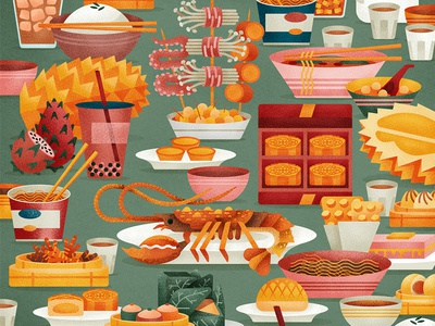 Hong Kong Feast  chinese oriental asia plates feast texture vector graphic food flat illustration