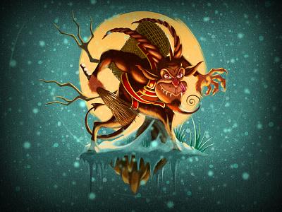 Krampus  moon texture painting christmas snow demon goat