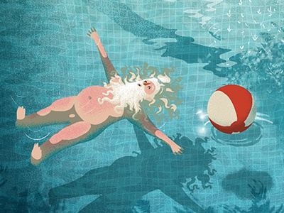 The day after Christmas float party reflection sunshine pool water santa travel vintage retro xmas illustration