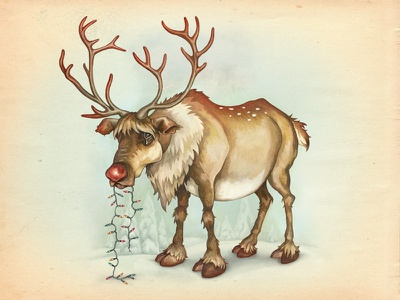 Rudolph The Red Nosed Reindeer rudolph texture snow festive christmas reindeer character deer christmas lights digital painting drawing illustration