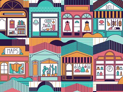 Shopping books plants lights maps deli dresses goods windows street boutique shop