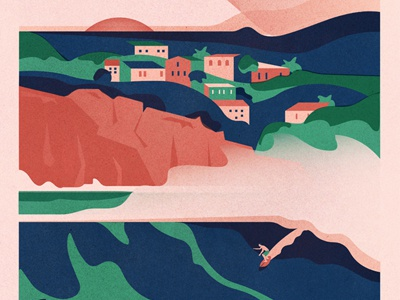 Puerto Escondido swell texture vintage vector plants hills cliff house town waves surf travel