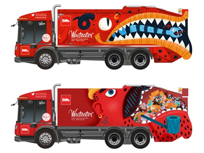 Trash munching drawn flat mouth texture trash retro monster vintage sailor truck character illustration