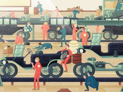 In the factory classic simple drive editorial book character drawn travel vintage retro car illustration
