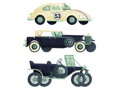 Automobiles classic simple drive editorial book character drawn travel vintage retro car illustration