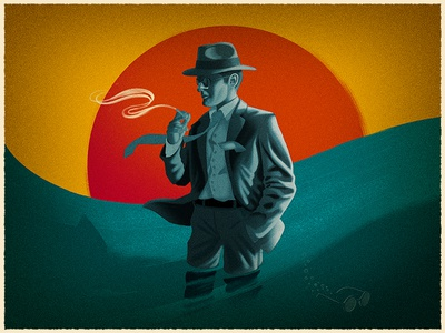 Chinatown  tie movie film water smoke sun character actor texture digital painting illustration