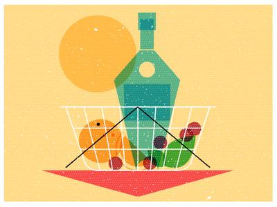 Weekend Ready  texture vintage festivities weekend sun berries orange bottle fruit basket