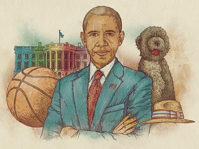 Washington Post dog usa president barrack obama white house vintage portrait paper etching texture digital art illustration