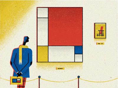 De Stijl line simple flat amsterdam gallery character vector dutch vintage retro art illustration