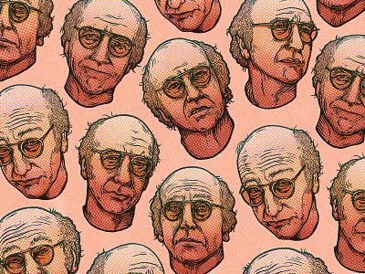 Pretty, pretty, pretty good... face wallpaper dot screen actor comedian drawing pattern portrait larry david texture etching illustration