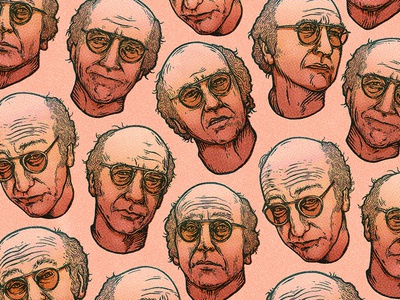 Pretty, pretty, pretty good... face wallpaper dot screen actor comedian drawing pattern portrait larry david texture etching illustration