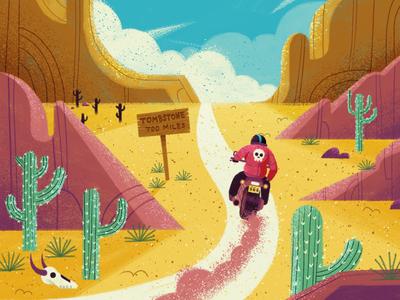 Nomad Biker skull cactus ride desert motorcycle character drawn travel vintage retro bike illustration