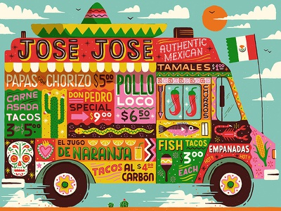 Mobile Mexican skull cactus mexico desert typography lettering drawn food vintage retro truck illustration