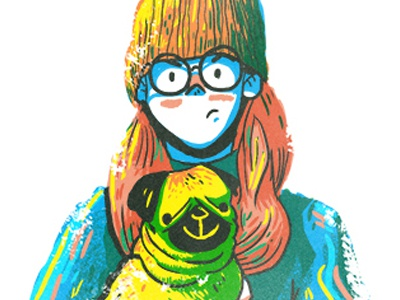 Dog Snobs coat woman pug hair character dog glasses portrait drawing texture digital art illustration