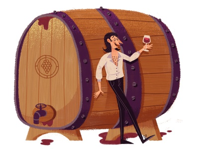 A spendid vintage! grapes drawing texture wine character man editorial barrel glass face figure illustration