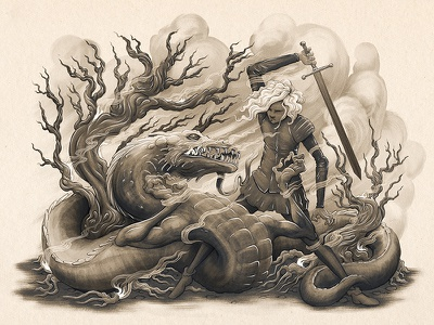 Dragon Slayer sword dragon fantasy fairy tale creature tail knight character monster texture digital painting illustration