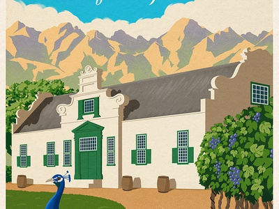 Beautiful Winelands wineyard scene mountain house bird winery peacock poster travel texture digital painting illustration