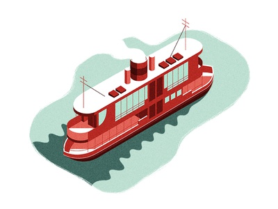 All Aboard  cruising shadow vector isometric smoke steam water ship ferry boat