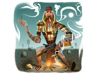 Post Apocalyptic Smoke Break chill animal rifle gun tattoo character man landscape skull fire match smoke