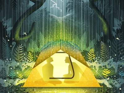Camping in the rain drawn warm rain texture storm retro editorial vintage tent camping character illustration