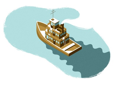 Tugboat ripple wake isometric smoke steam water ocean vessel ship boat tugboat