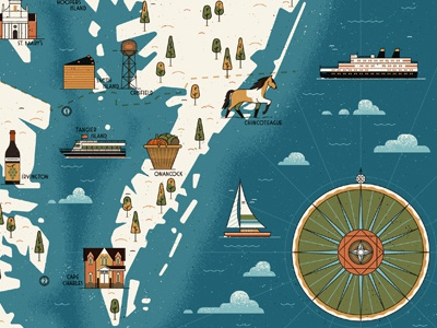 Chesapeake Bay lettering texture editorial ocean vintage retro lighthouse ship map icon vector illustration